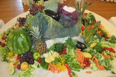 wedding food tables | wedding (70 people) but they wanted the center piece of the food ...