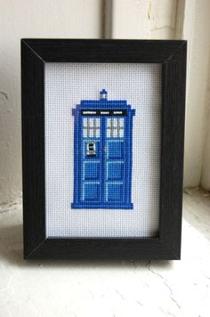 Doctor Who Tardis Cross Stitch Pattern.  Adorable. I must learn to cross stitch!