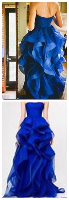 High Low Royal Blue Organza Prom Gowns Strapless Evening Dresses For Teens Brides Classy Prom Dresses, Royal Blue Prom Dresses, Dresses For Teens, Sexy Dresses, Fashion Dresses, Prom Gowns, Prom Party Dresses, Evening Dresses, Sexy Party Dress