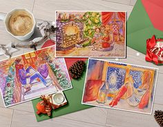 """Check out new work on my @Behance portfolio: """"Watercolor christmas cards"""" http://be.net/gallery/58711095/Watercolor-christmas-cards"""