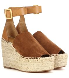 Chloé Suede And Leather Wedge Espadrilles For Spring-Summer 2017