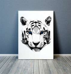 White tiger poster Wall art Animal print by animalgeometry on Etsy