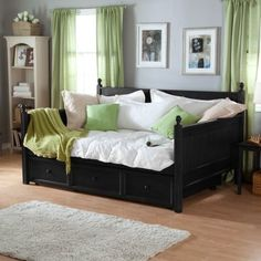 Casey Daybed full-size, with pull-out bed underneath, wood in black finish