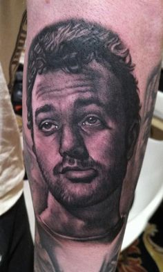 Bob Tyrrell has tattooed the image of Bill Murray. #InkedMagazine #portrait #blackandgrey #realism #inked #ink #art #tattoo #tattoos