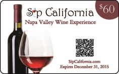 2015 Sip California Napa Valley Wine Experience Card Value is over $200 The card expires December 31, 2015 Participating Wineries Experience the Napa Valley Wine Country with these offers: Calistoga Tamber Bey Vineyards, Two Tastings for the Price of One Vermeil Wines, Two Tastings for the Price of One Napa Andretti Winery, Two Tastings for the Price of One Avinodos, Complimentary Tasting for […]