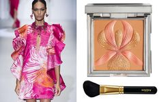 Fashion and beauty together: silk dress by Gucci and fard by Sisley