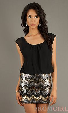 Black and Gold Sequin Sleeveless Dress at PromGirl.com
