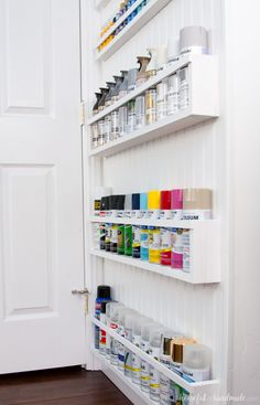 DIY Paint Storage Shelves - Office & Craft Room Makeover {Week - - Create the perfect DIY paint storage from scraps or cheap wood. These paint storage shelves can even be hung in closets or behind doors. Craft Room Storage, Craft Room Shelves, Basement Craft Rooms, Ikea Craft Room, Garage Storage Shelves, Craft Room Decor, Art Storage, Room Organization, Storage Ideas