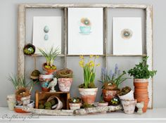Spring mantel with pots ready to bloom and egg-filled nests ready to hatch! Craftberry Bush #swingintospring