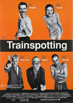 Trainspotting movie poster. Directed by Danny Boyle, movie released in 1996.