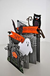 halloween cards It was so much fun creating the Love you a Latte cascading card that I had to make another! This time the theme is A Haunted Graveyard. Scrapbooking Halloween, Halloween Paper Crafts, Theme Halloween, Holidays Halloween, Handmade Halloween Cards, Halloween 2019, Spooky Halloween, Fancy Fold Cards, Folded Cards