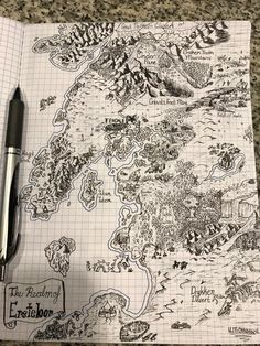 Started doodling while my wife was in surgery today, and I made my first Tolkien-esque map. CC welcome! Fantasy Map Making, Fantasy World Map, Fantasy Art, Map Sketch, Sketches, Tolkien Map, Dnd World Map, Dungeons And Dragons Homebrew, Dungeon Maps
