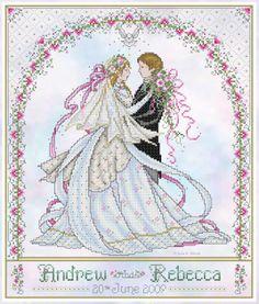 wedding cross stitch patterns free to print | wedding samplers. cross stitch wedding | Joan Elliott