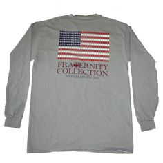 Fraternity Collection Patriotic Grey ($40) ❤ liked on Polyvore featuring tops, long sleeve tops, pocket long sleeve shirt, fraternity shirts, longsleeve shirt and shirts & tops