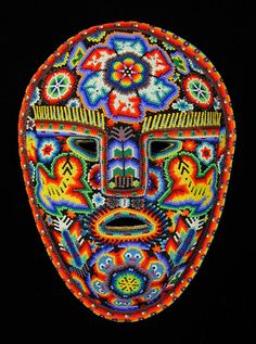 By Macuchi - Huichol people, Nayarit, Mexico, c. 2005  Beads pressed into beeswax on wood mask