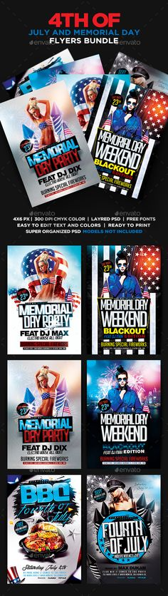 4th Of July and Memorial Day Flyers Bundle PSD - Holidays Events
