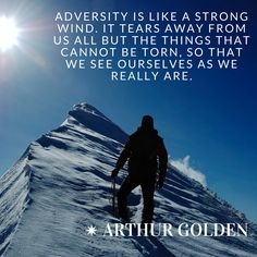 Adversity is like a strong wind. It tears away from us all but the things that cannot be torn, so that we see ourselves as we really are. ~Arthur Golden