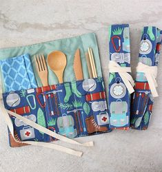 Zero Waste Utensils Wrap  Reusable bamboo cutlery roll