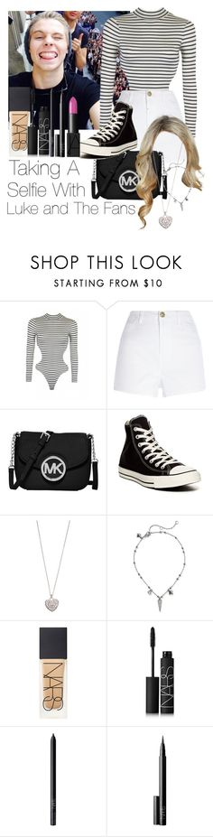 """""""Taking A Selfie With Luke Hemming And The Fans"""" by jen-21-a ❤ liked on Polyvore featuring River Island, MICHAEL Michael Kors, Converse, Accessorize, Rebecca Minkoff, NARS Cosmetics, women's clothing, women's fashion, women and female"""