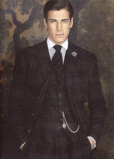 Dapper style... Men's three piece dark plaid suit