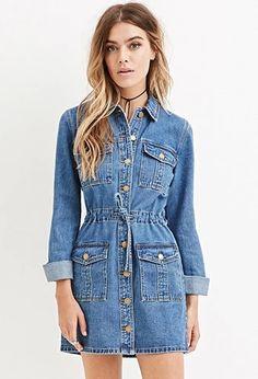 Buttoned Denim Dress   Forever 21 #forever21denim