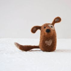 Doggykitts, needle felted brown dog animal fiber art. $24, finished product, 3 1/4 inches tall.