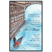 This Italian inspired card features a gondola traveling through a canal. Perfect for a romantic occasion or an Italian dinner party. Casual Wedding Invitations, Venetian, Brown And Grey, Venice, Travel Destinations, Party Ideas, Romantic, Wedding Ideas, Inspired
