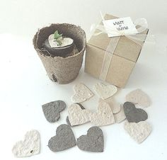 Plantable Seed Paper Hearts - They Grow DIY Wedding Favors - Place Cards - Save The Date - Creative Invitations Each heart is cut from handmade paper containing an assortment Seed Wedding Favors, Wedding Favor Table, Vintage Wedding Favors, Wedding Reception, Vintage Table Decorations, Seed Paper, Bridal Shower Favors, Party Favors, Bridal Showers
