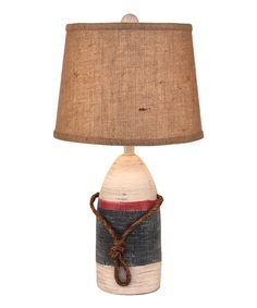 Small Buoy Pot Accent Lamp With Burlap Shade