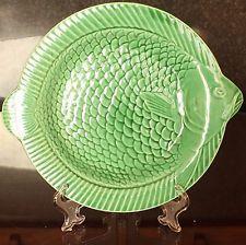 Vintage Sarreguemines Green Majolica Fish Plate, 1930's