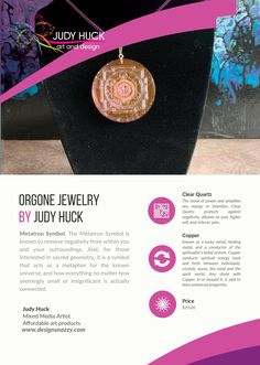 Orgone jewelry by Judy Huck Affordable Art, Clear Quartz, Framed Art Prints, Symbols, Jewelry, Design, Jewlery, Jewerly, Schmuck
