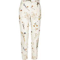 White floral print slim pants