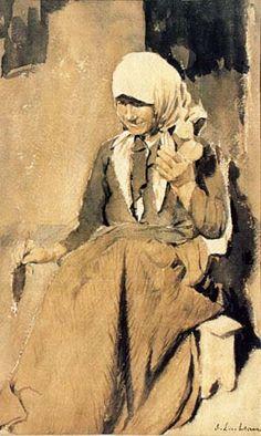 "Luchian Stefan - ""Femeie torcand"", Muzeul National de Arta Impressionist Paintings, Life Drawing, Figurative Art, New Art, The Past, Statue, History, Drawings, 1 Februarie"
