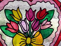 Heart series-I Love Tulips window cling, suncatcher, faux stained glass, decal on Etsy, $11.38 CAD