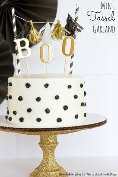 Mini tassel garland & cake topper. Fun Holiday party decoration. Tutorial on www.thirtyhandmadedays.com