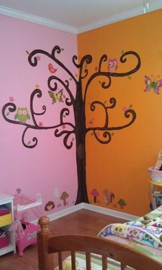Tree Mural I painted Today in my daughters owl room :)