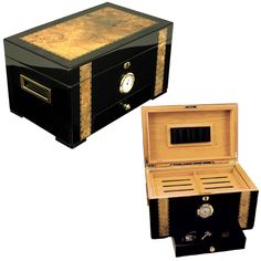 Maintain the humidity level on your favorite cigars to keep them fresh and make them last with this 120-cigar humidor from Cuban Crafters. The humidor features a high-gloss shine and dark African ebon