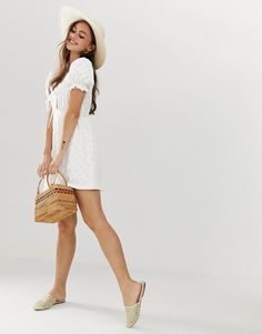 Order ASOS DESIGN puff sleeve broderie tea dress online today at ASOS for fast delivery, multiple payment options and hassle-free returns (Ts&Cs apply). Get the latest trends with ASOS. Asos Gift Voucher, White Lace, White Dress, Fashion Online, Fitness Models, Curves, Maternity, Sleeves