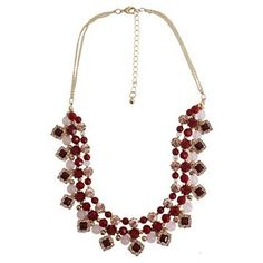 Women's Fashion Statement Necklace With Beads And Stones- Gold/Berry (16