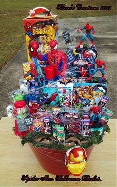 Spider man themed easter basket for my godson 2014 stamati kocoas creations spider man halloween basket negle Choice Image