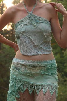 Mermaid lace top festival dance burning man por FractalWings, $70.00