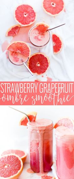 This strawberry grapefruit smoothie is the perfect refreshing summer drink made with few ingredients Healthy Fruit Smoothies, Fruit Smoothie Recipes, Yummy Smoothies, Healthy Drinks, Detox Drinks, Paleo Fruit, Fruity Drinks, Smoothie Diet, Refreshing Drinks