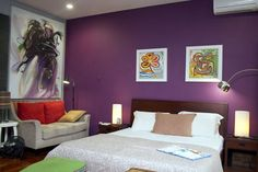 I like how the room feels very dark and calm.  The colors are red and green and yellow and purple.