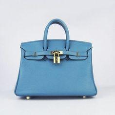 Hermes Birkin 25CM Blue handbag Gold Hardware, replica designer handbags