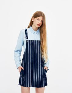 Pull&Bear - striped denim pinafore dress - dark blue - 05391345-V2018