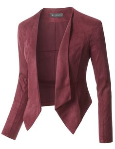This faux suede long sleeve cropped blazer jacket is so versatile. Create multiple looks for an office or casual environment. Look great with high waisted jeans or midi skirts. Made of a lightweight, super soft material for all day comfort. Feature - 100% Polyester - Lightweight, soft material for all day comfort - Open Front / No closure - Light shoulder padding - Hand wash cold / Do not bleach / Do not tumble dry / Hang or line dry - Please look at the measurements below for guidance Click…
