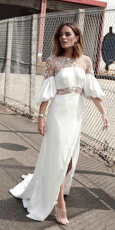 Top 24 High Low Wedding Dresses ❤ high-low wedding dresses high neckline with sleeves straight rime arodaky ❤ See more: http://www.weddingforward.com/high-low-wedding-dresses/ #wedding #bride
