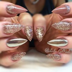 Nude nails with glitter, glitter french nails, gold gel nails, sparkle nail Nude Nails With Glitter, Gold Gel Nails, Glitter French Nails, Sparkle Nails, Glam Nails, Stiletto Nails, Beauty Nails, Glitter Dress, Gold Chrome Nails