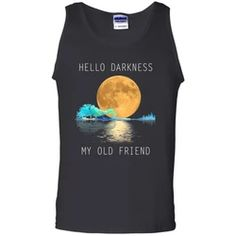 Hello Darkness My Old Friend Moon Lake Night Guitar Colorful Black Tank Top Flower Children, Hippie Shirt, Black Tank Tops, Old Friends, Tank Man, Shirt Designs, Cotton, Mens Tops, T Shirt