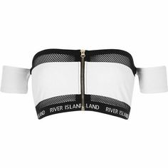River Island White mesh zip front bardot bikini to. Kpop Outfits, Edgy Outfits, Mode Outfits, Cute Casual Outfits, Girls Fashion Clothes, Teen Fashion Outfits, Girl Outfits, Emo Fashion, Swimsuit Tops
